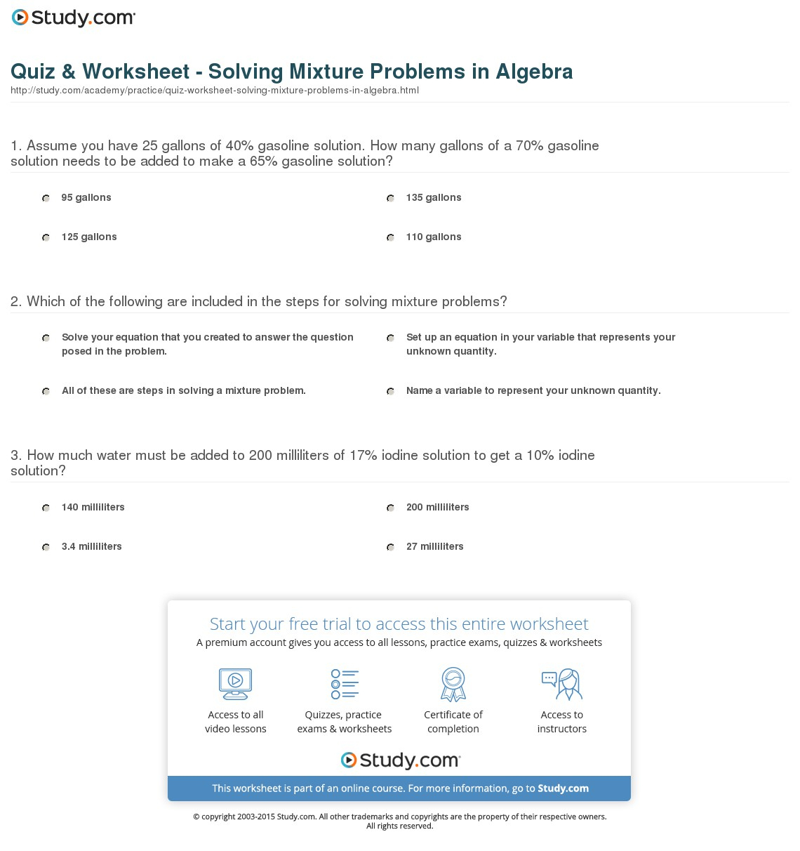 Quiz & Worksheet - Solving Mixture Problems In Algebra | Study | Free Printable Worksheets On Mixtures And Solutions