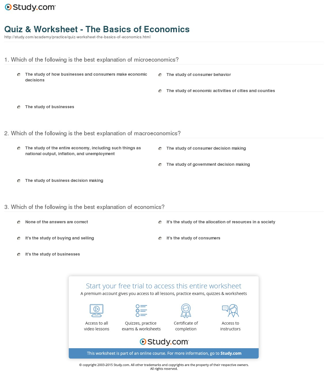 Quiz & Worksheet - The Basics Of Economics | Study | Free Printable Economics Worksheets