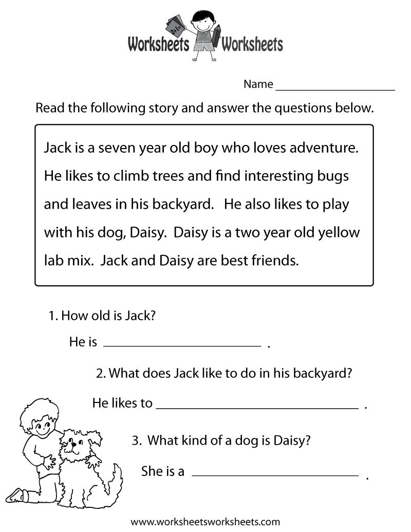 Reading Comprehension Practice Worksheet Printable | Language | Free | Printable Reading Worksheets For 1St Grade