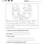 Reading Comprehension Worksheet   Free Kindergarten English | Free Printable English Reading Worksheets For Kindergarten
