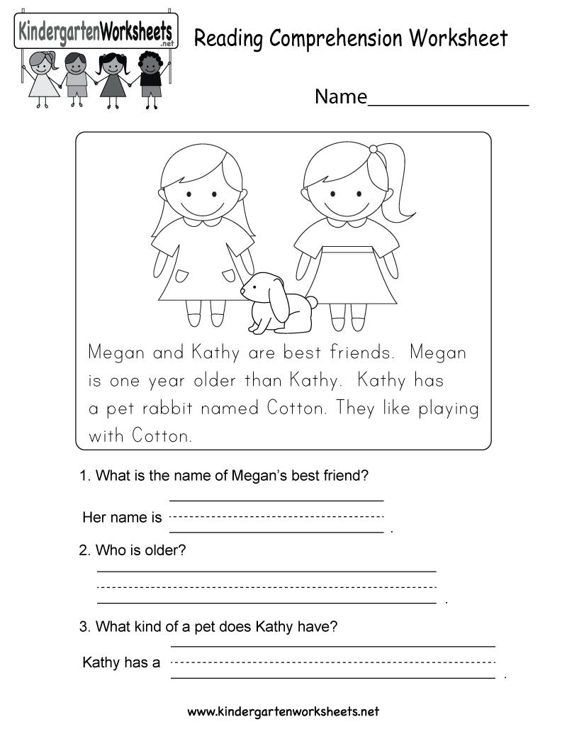 Reading Comprehension Worksheet - Free Kindergarten English | Free Printable English Reading Worksheets For Kindergarten