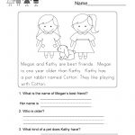Reading Comprehension Worksheet   Free Kindergarten English   Free Printable Reading Comprehension Worksheets For Adults