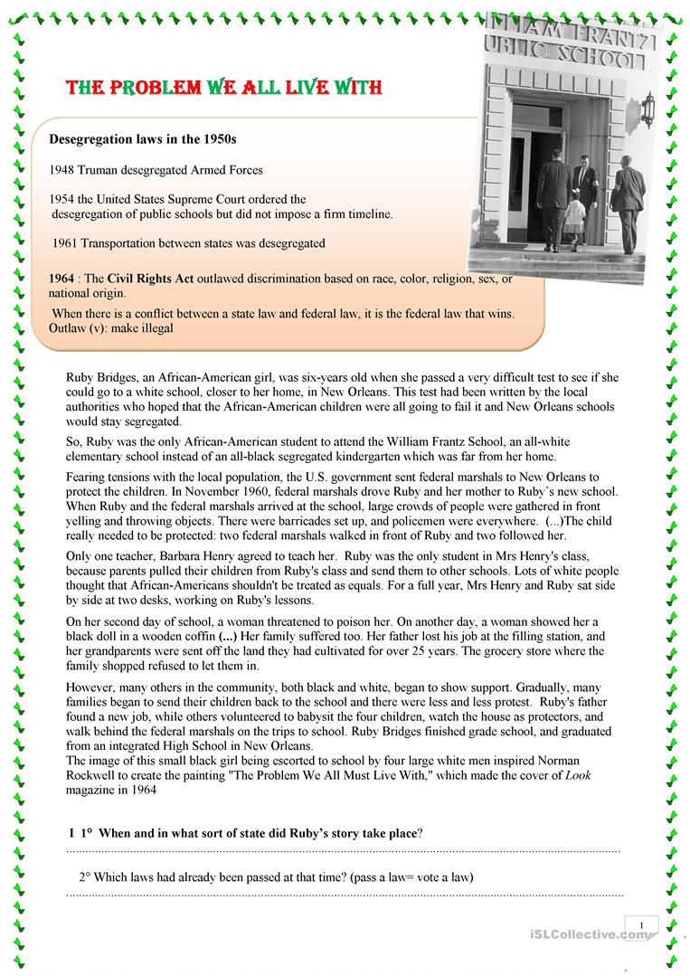 Reading Ruby Bridges Worksheet - Free Esl Printable Worksheets Made | Ruby Bridges Printable Worksheets