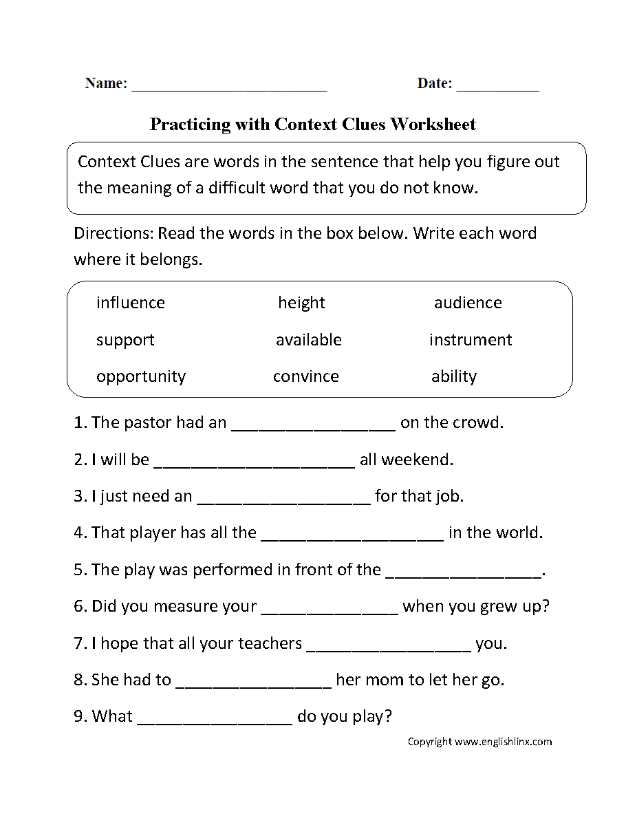 Reading Worksheets | Context Clues Worksheets | Grade 7 Vocabulary Worksheets Printable