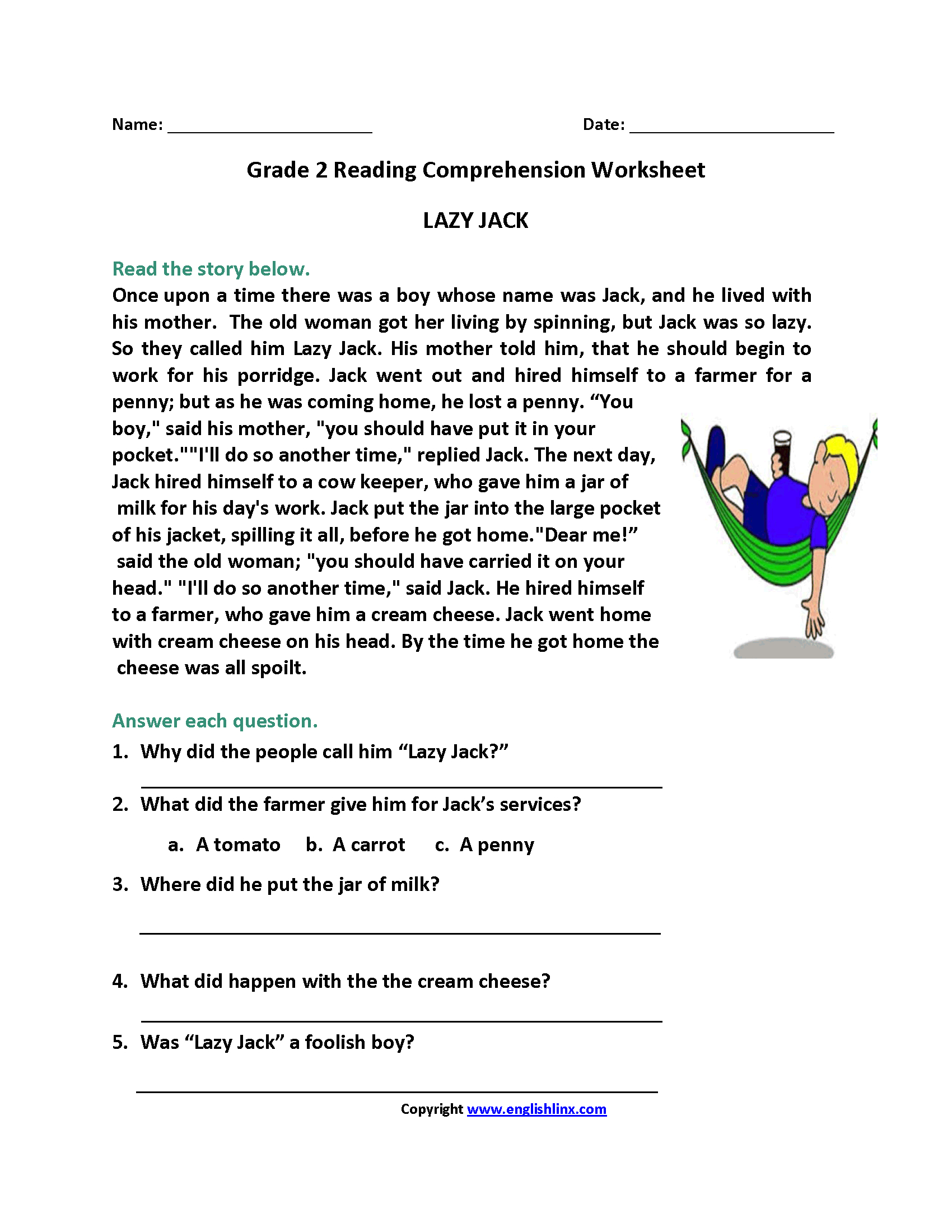 Reading Worksheets | Second Grade Reading Worksheets | Second Grade Reading Comprehension Printable Worksheets
