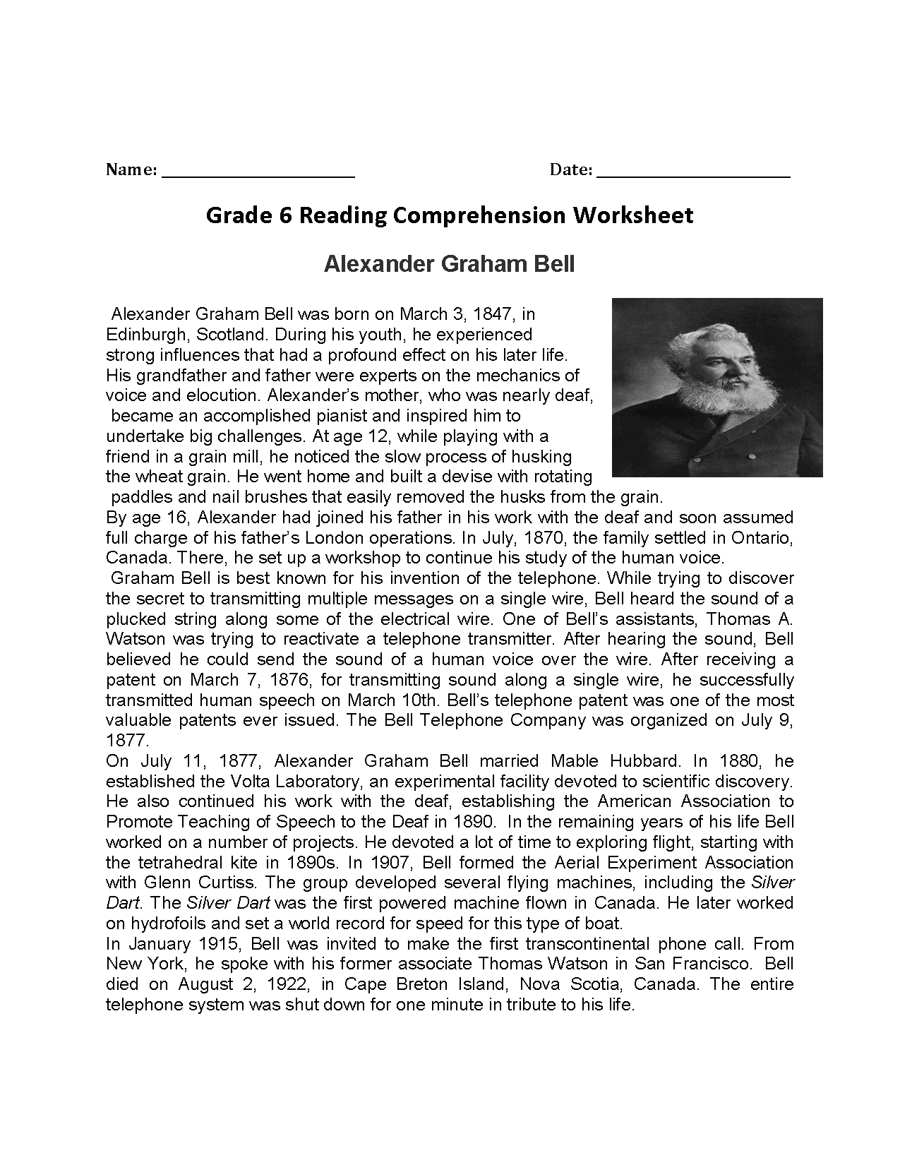 Reading Worksheets | Sixth Grade Reading Worksheets | Reading Worksheets For 6Th Grade Printable