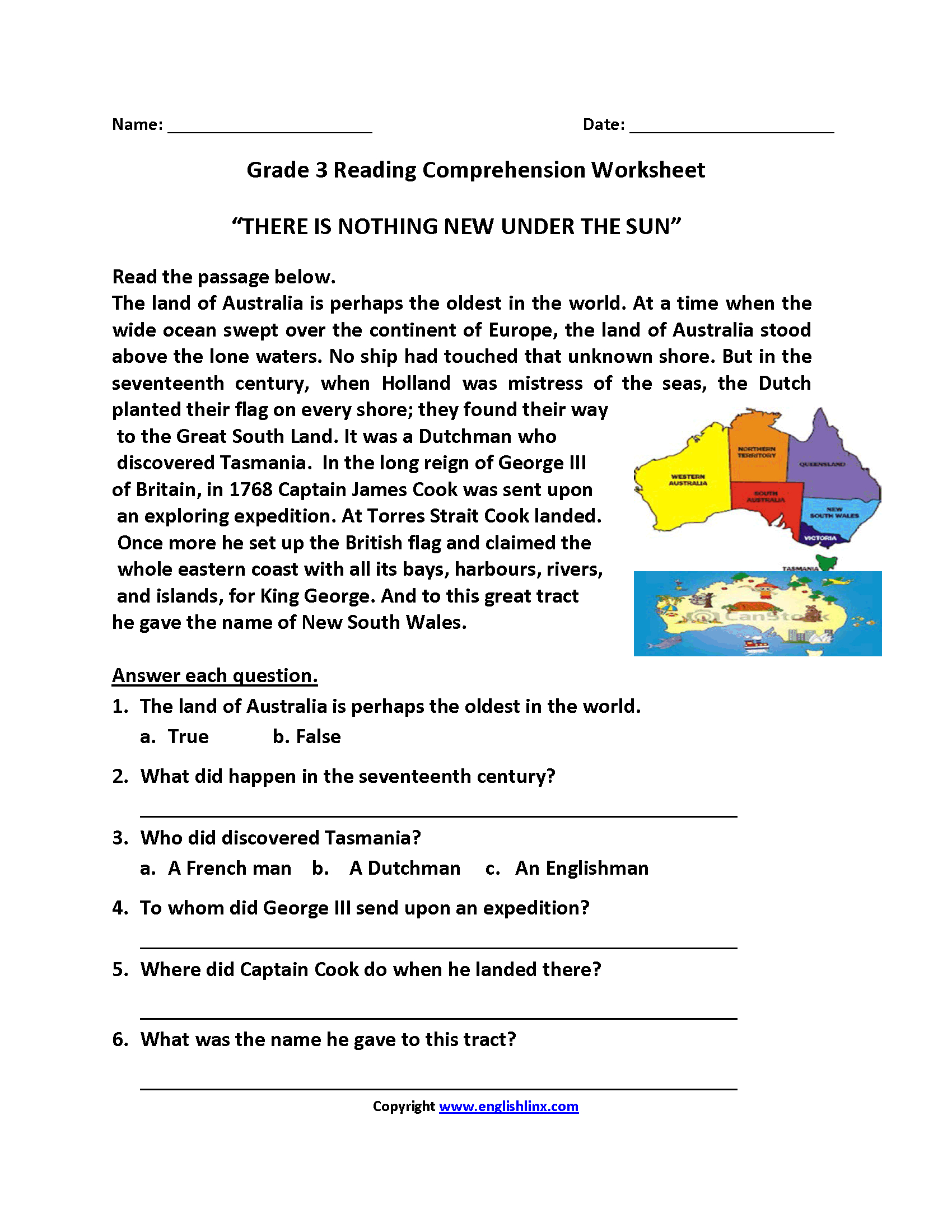 Reading Worksheets | Third Grade Reading Worksheets | Year 3 Literacy Worksheets Printable