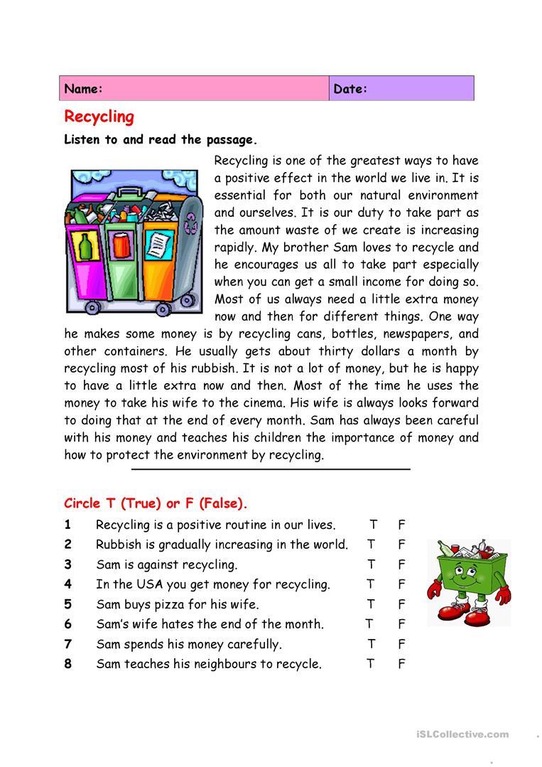 Recycling Worksheet - Free Esl Printable Worksheets Madeteachers | Recycle Worksheets Printable