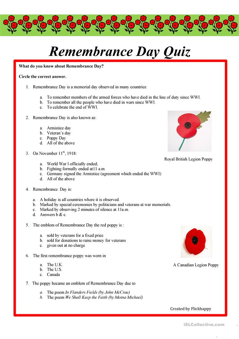 Remembrance Day Quiz Worksheet - Free Esl Printable Worksheets Made | Memorial Day Free Printable Worksheets