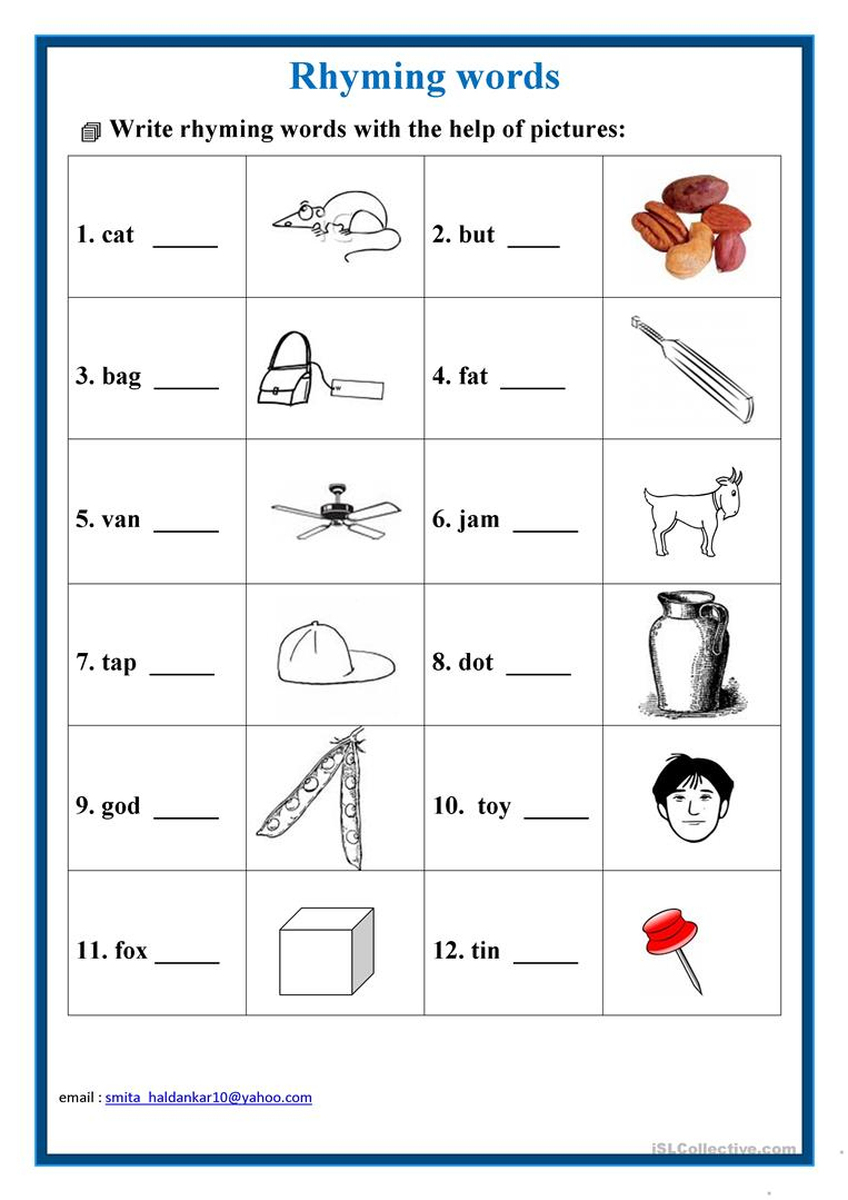 Rhyming Words Worksheet - Free Esl Printable Worksheets Madeteachers | Free Printable Rhyming Words Worksheets