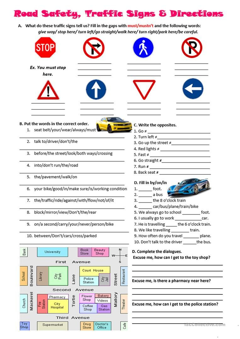 Road Safety, Traffic Signs And Directions Worksheet - Free Esl | Printable Worksheets For Drivers Education