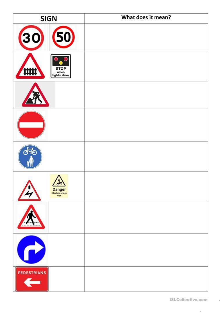 Road Signs Worksheet Worksheet - Free Esl Printable Worksheets Made | Free Printable Traffic Signs Worksheets