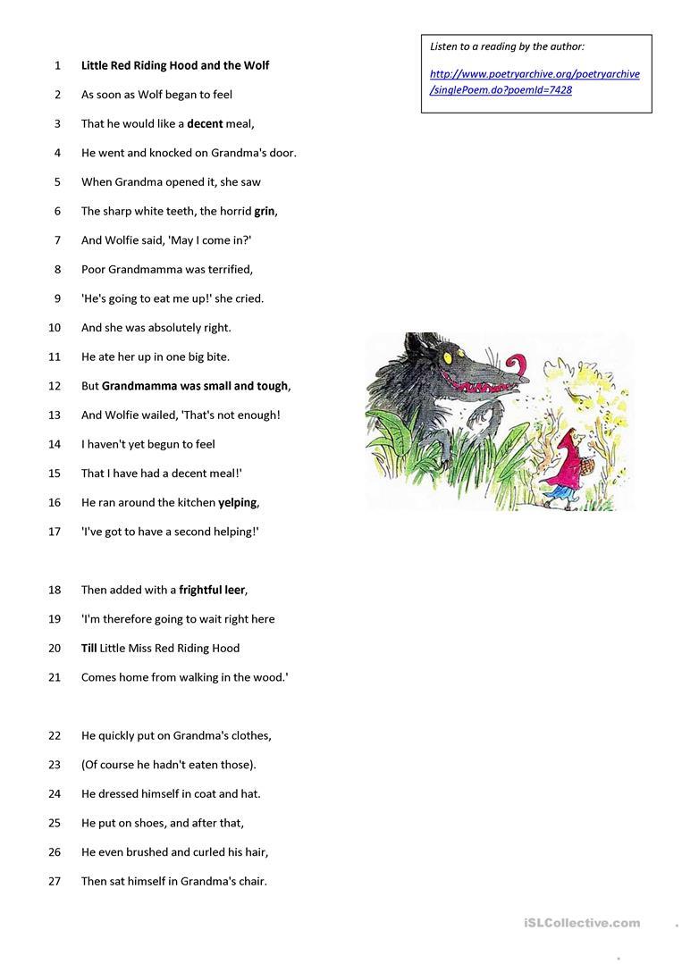 Roald Dahl - Poem - Little Red Riding Hood Worksheet - Free Esl | Little Red Riding Hood Worksheets Printable