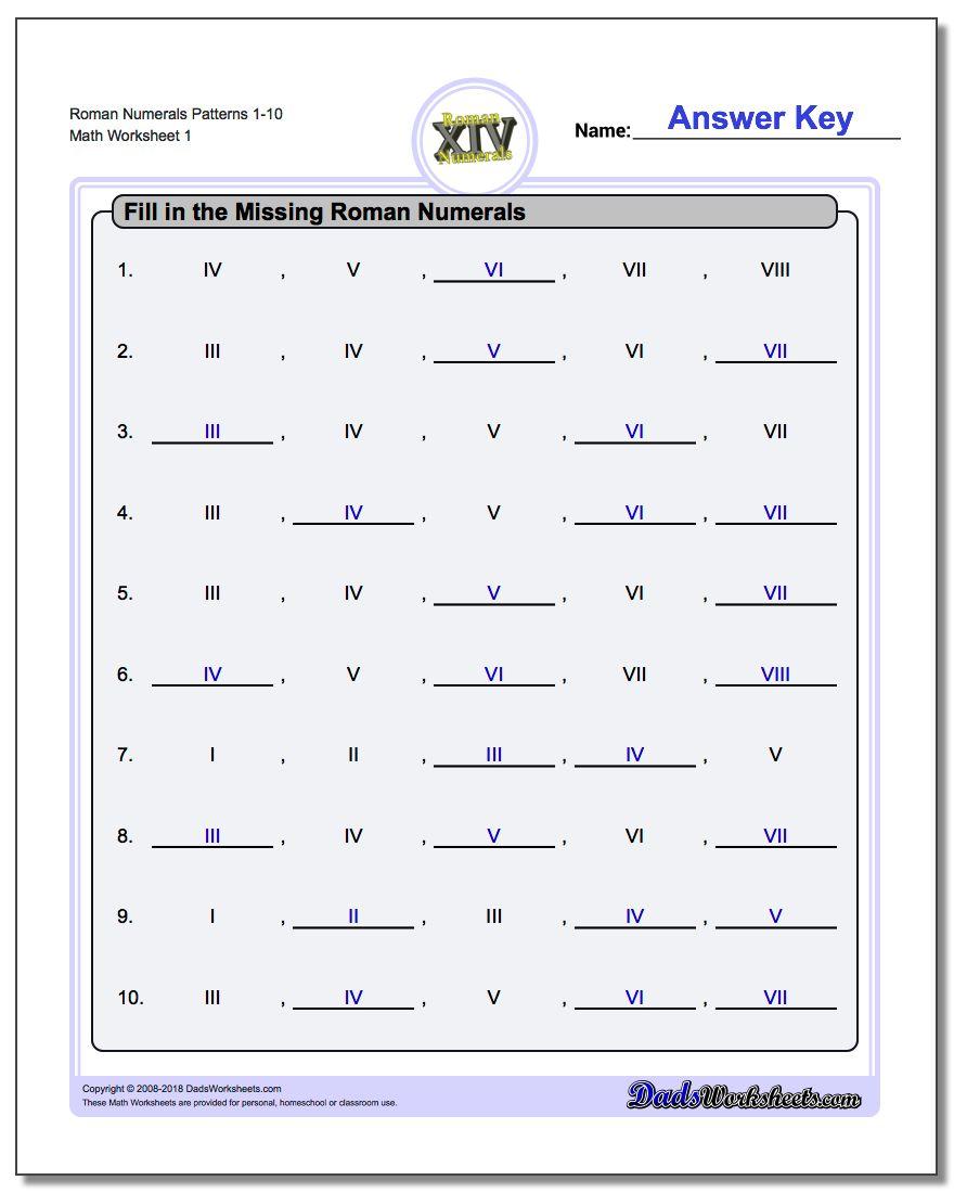 Roman Numerals | Printable Roman Numerals Worksheets