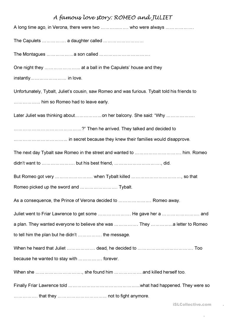 Romeo And Juliet Activities Worksheet - Free Esl Printable | Romeo And Juliet Free Printable Worksheets