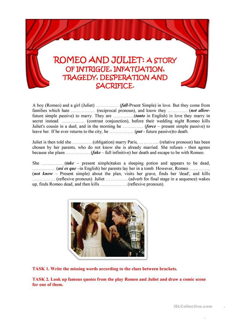 Romeo And Juliet Worksheet - Free Esl Printable Worksheets Made | Romeo And Juliet Free Printable Worksheets