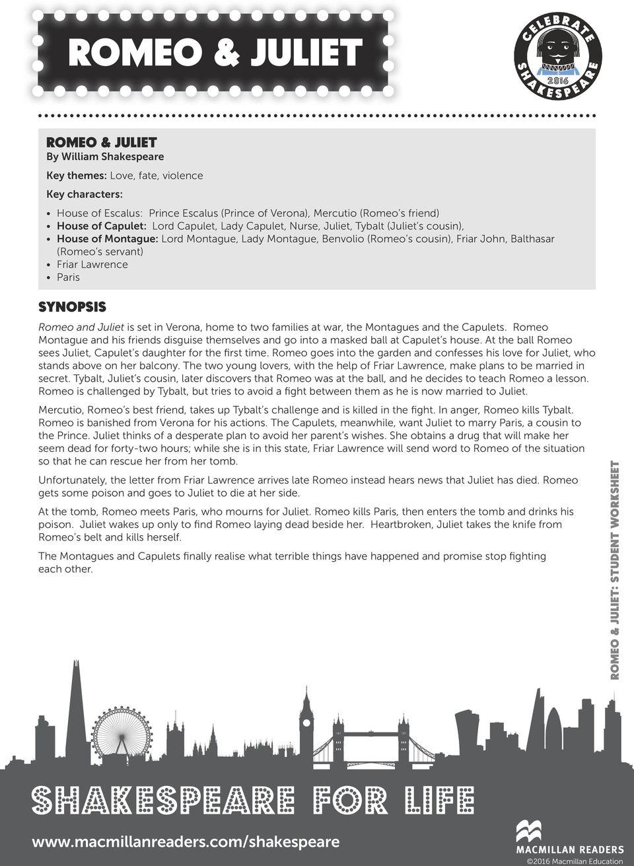 Romeo & Juliet. Student Worksheet 1 Reading Task 1. Shakespeare For   Romeo And Juliet Free Printable Worksheets