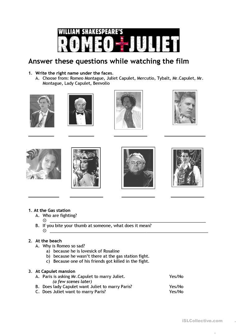 Romeo & Juliet Worksheet - Free Esl Printable Worksheets Made | Romeo And Juliet Free Printable Worksheets