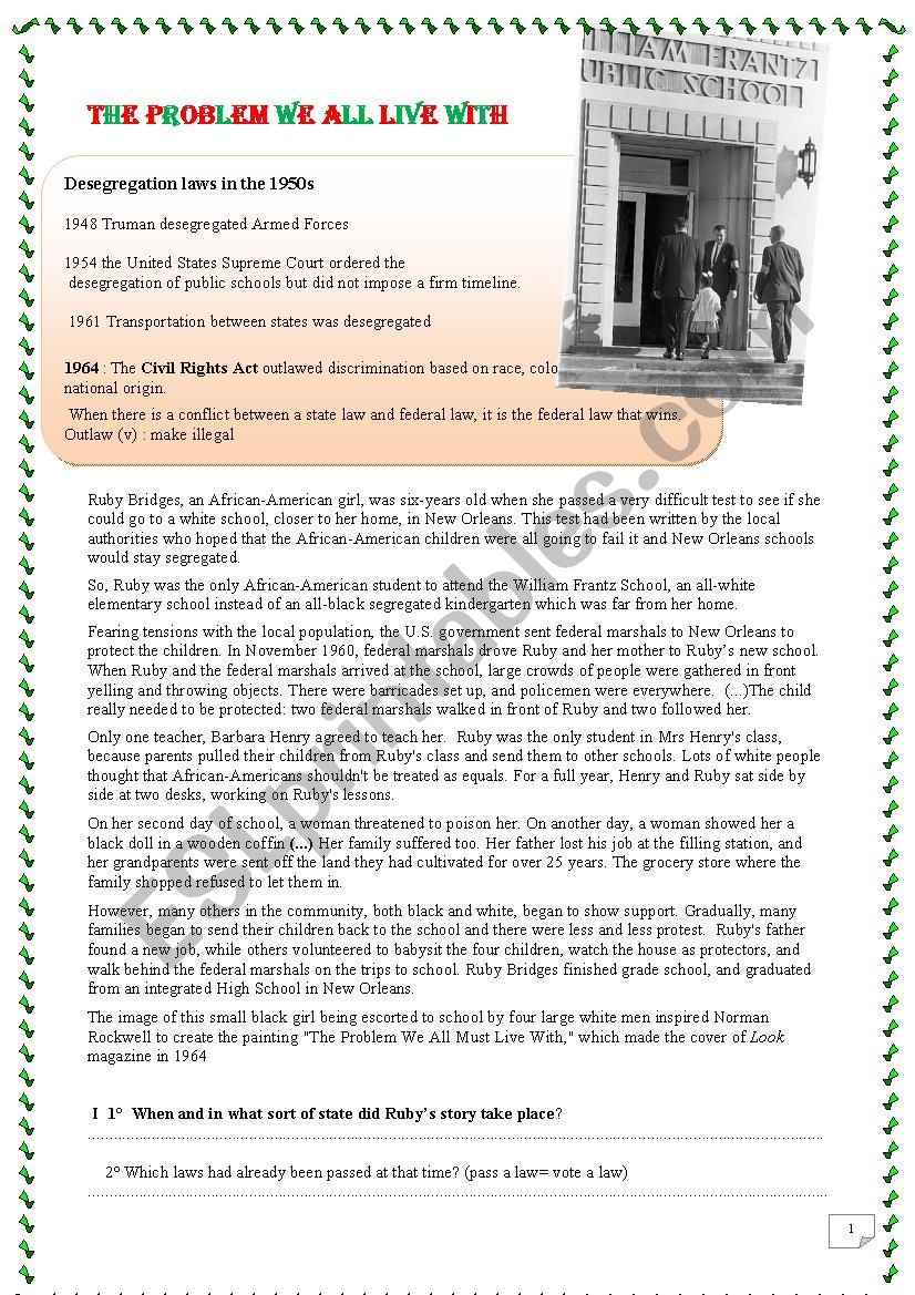 Ruby Bridges And Civil Rights Movement (Number 2) - Esl Worksheet | Ruby Bridges Printable Worksheets