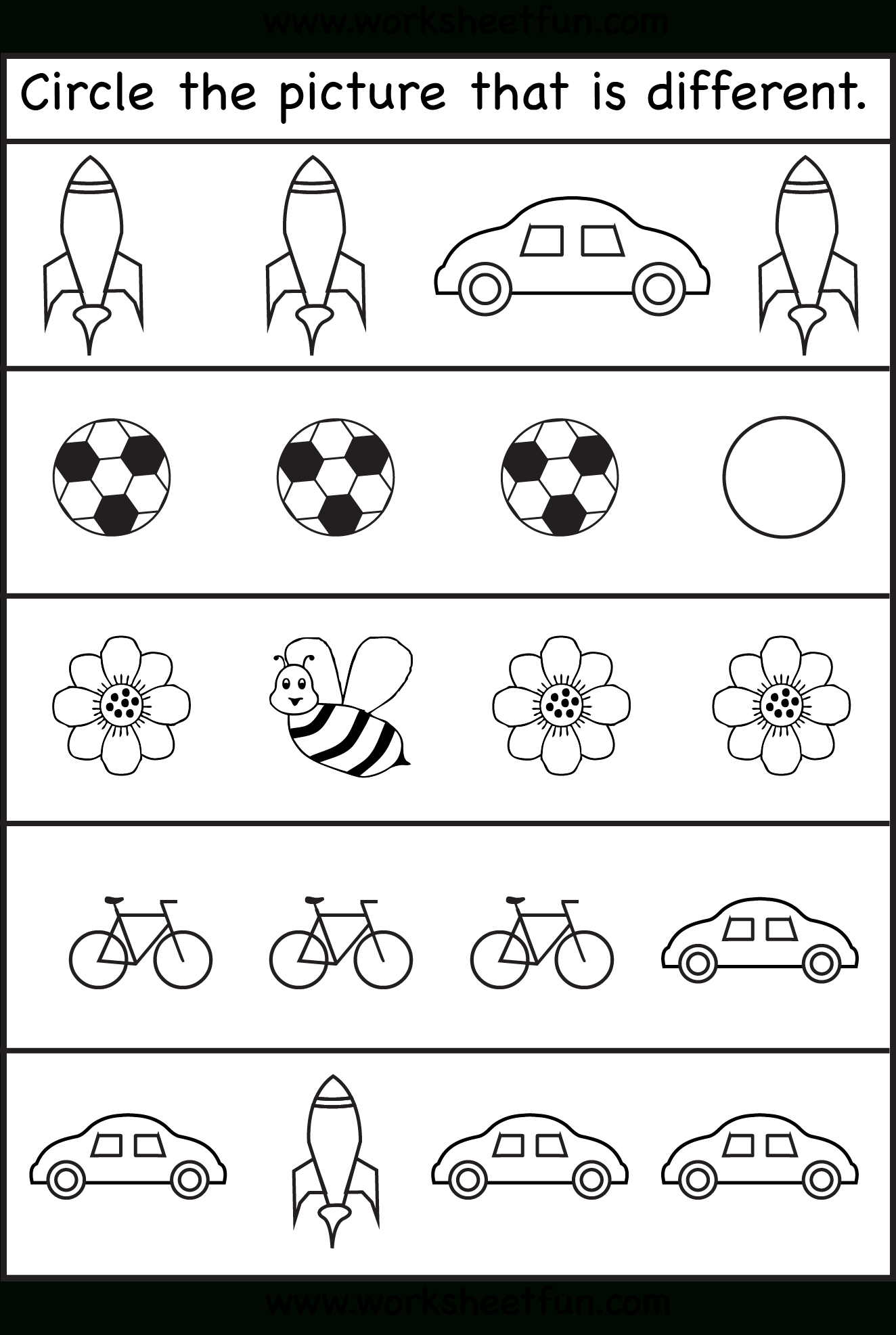 Same Or Different Worksheets For Toddler | Printables For Head Start | Printable Worksheets For Head Start