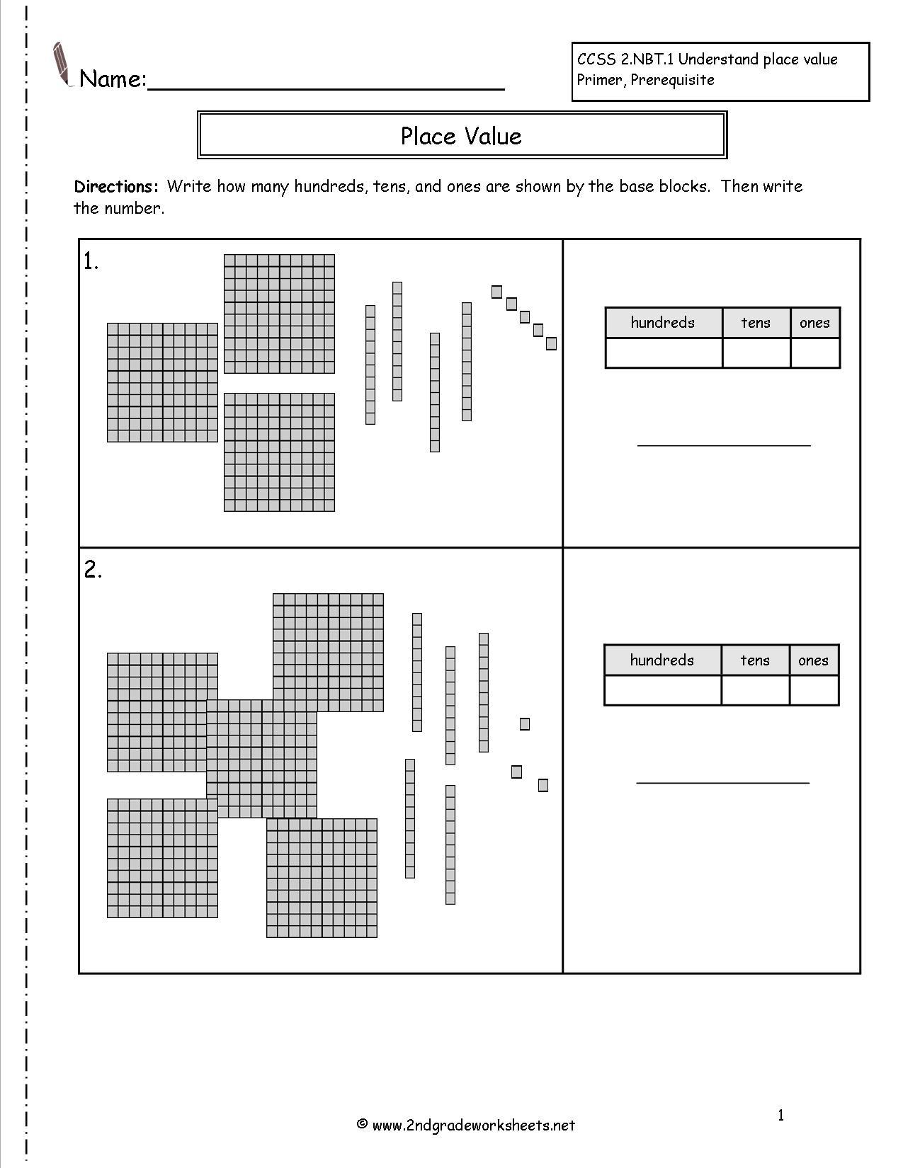 Second Grade Place Value Worksheets   Free Printable Base Ten Block Worksheets