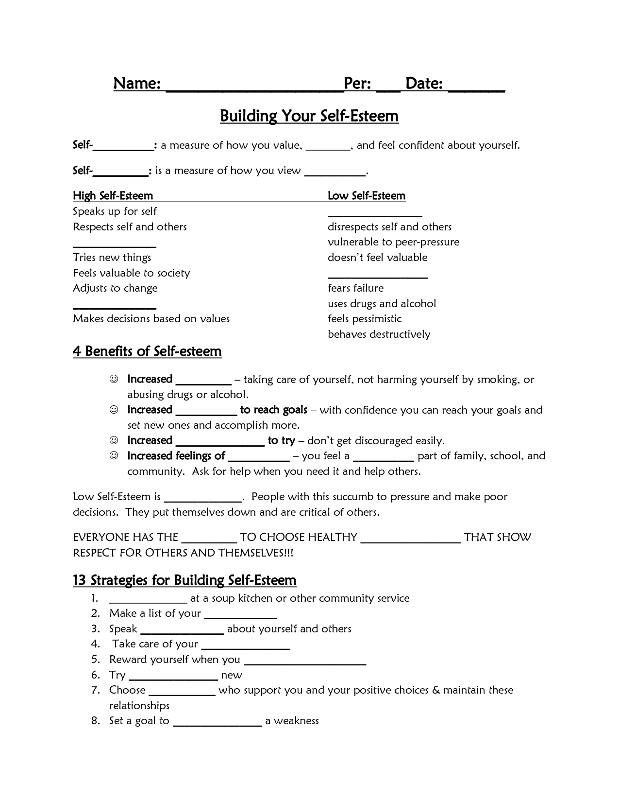 Self-Esteem Worksheet - Google Search | Self-Esteem/confidence | Self Esteem Building Worksheets Printable