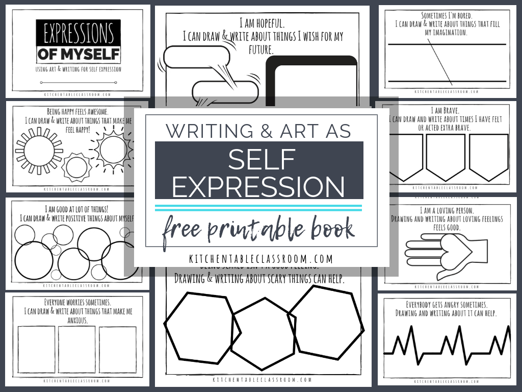 Self Expression Through Writing & Art- Free Self Esteem Worksheets | Self Esteem Printable Worksheets