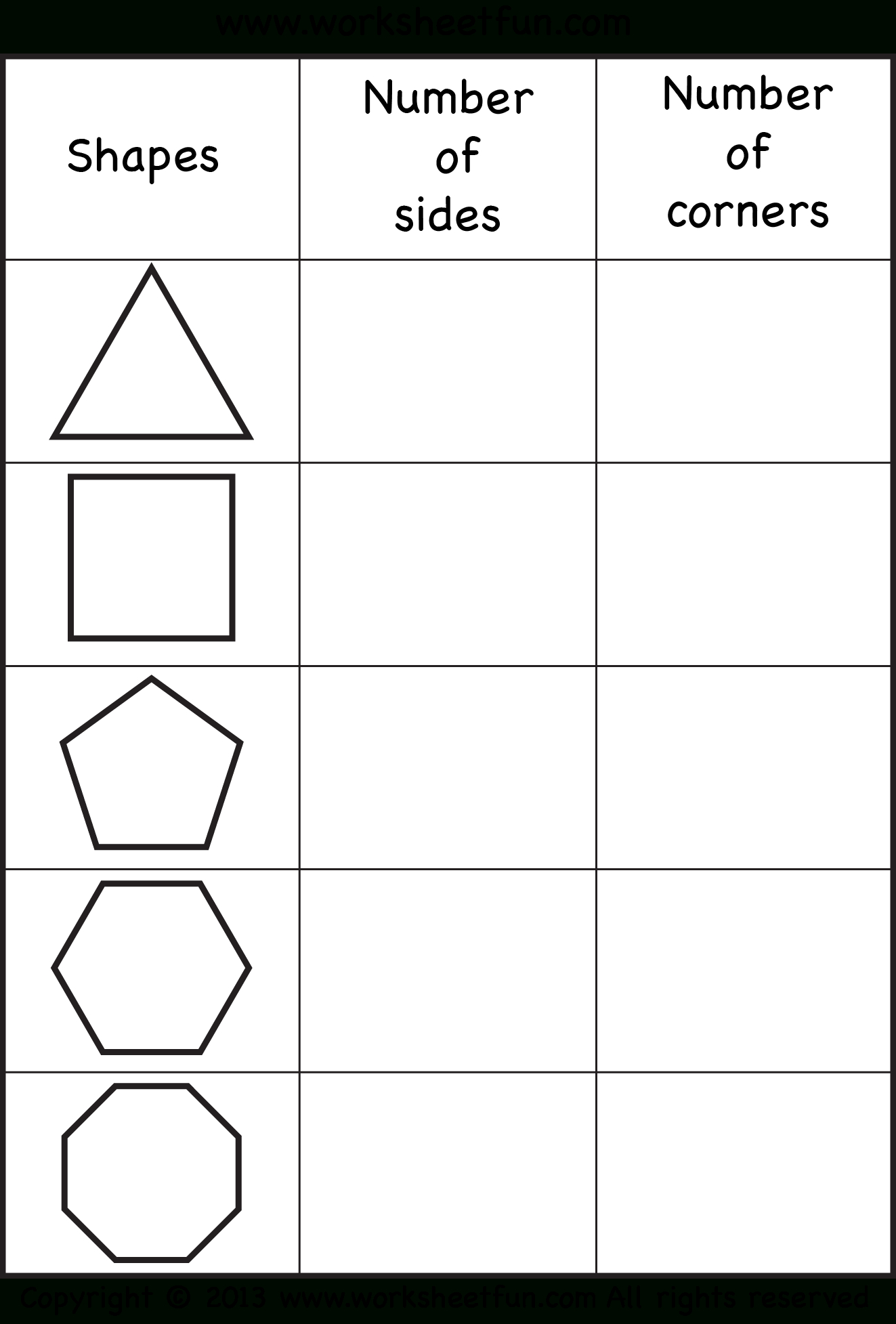 Sides And Corners – Number Of Sides – Number Of Corners – Triangle | Polygon Shapes Printable Worksheets