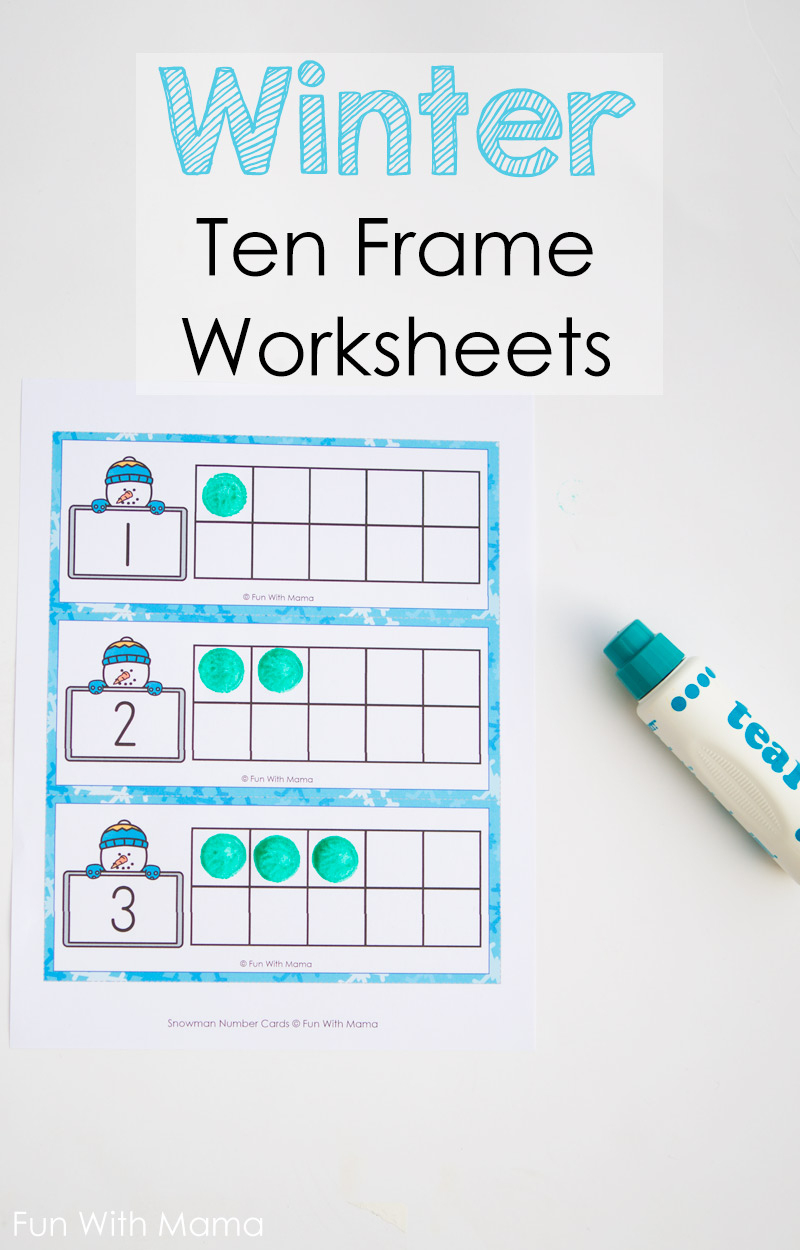 Snowman Winter Ten Frame Printable - Fun With Mama | Ten Frame Printable Worksheets