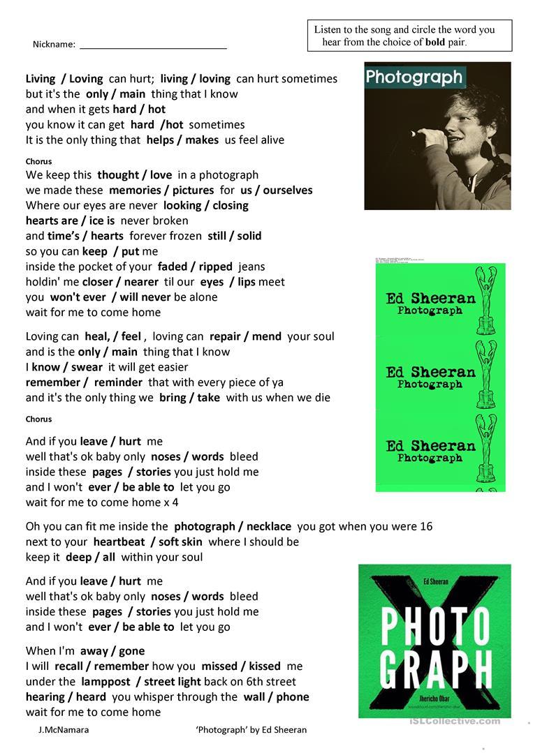 "Song ""photograph""ed Sheeran Worksheet - Free Esl Printable | Printable Photography Worksheets"