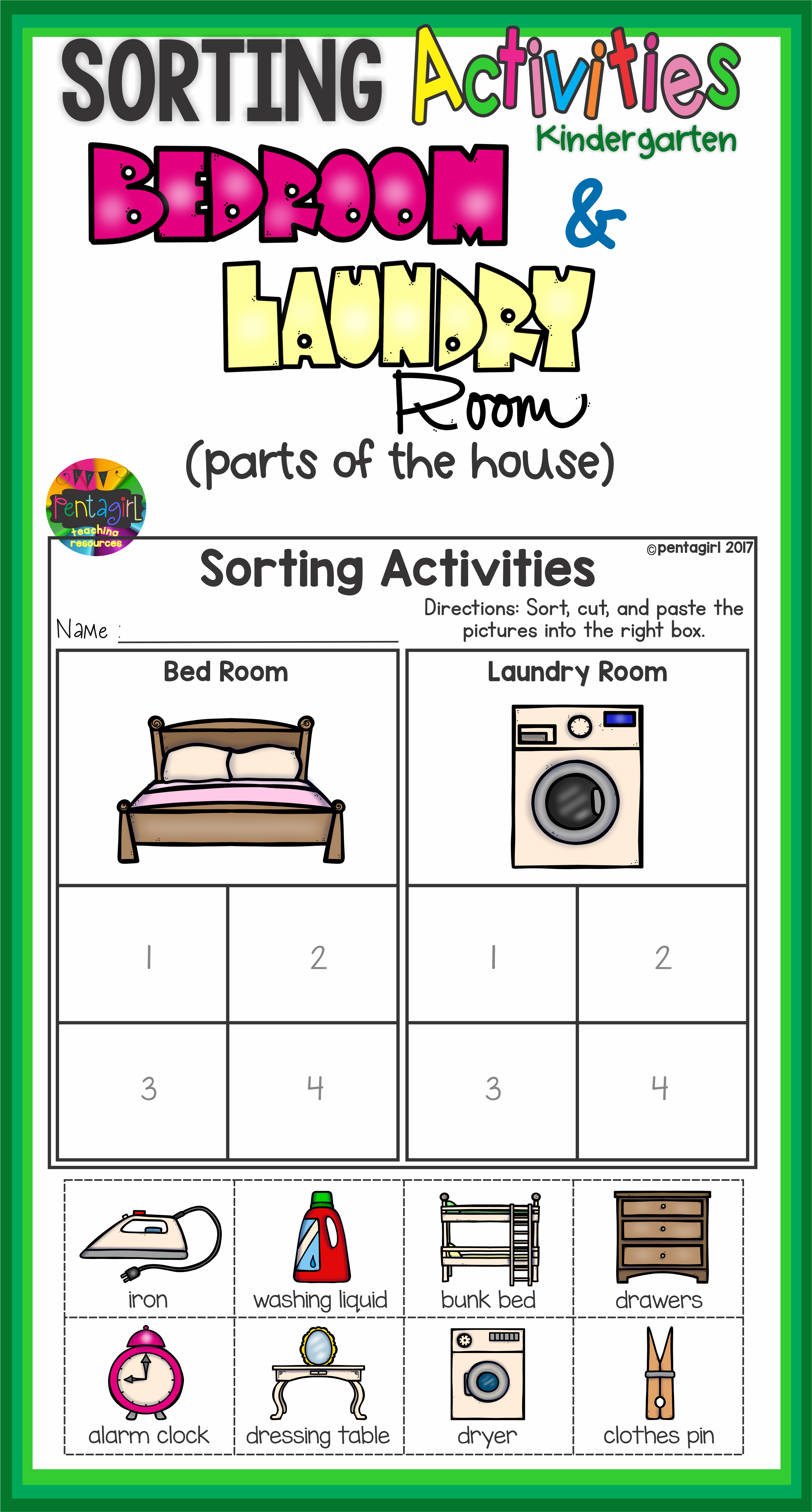 Sorting Activities Posters And Worksheets Bedroom And Laundry Room | Laundry Worksheets Printable