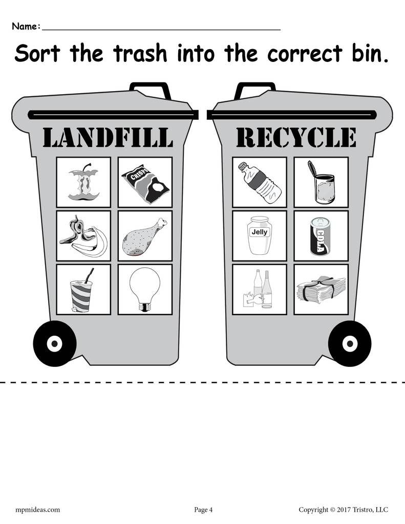 Sorting Trash - Earth Day Recycling Worksheets (4 Free Printable | Recycle Worksheets Printable