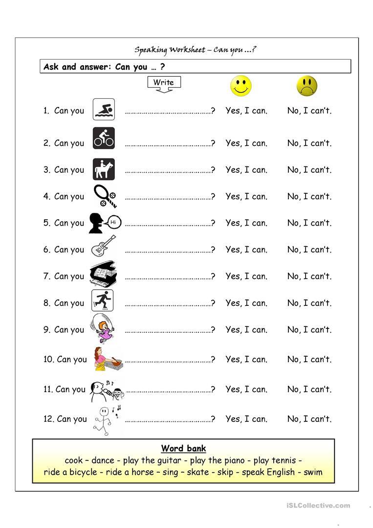 Speaking Worksheet - Can You? Worksheet - Free Esl Printable | Free Esl Printables Worksheets
