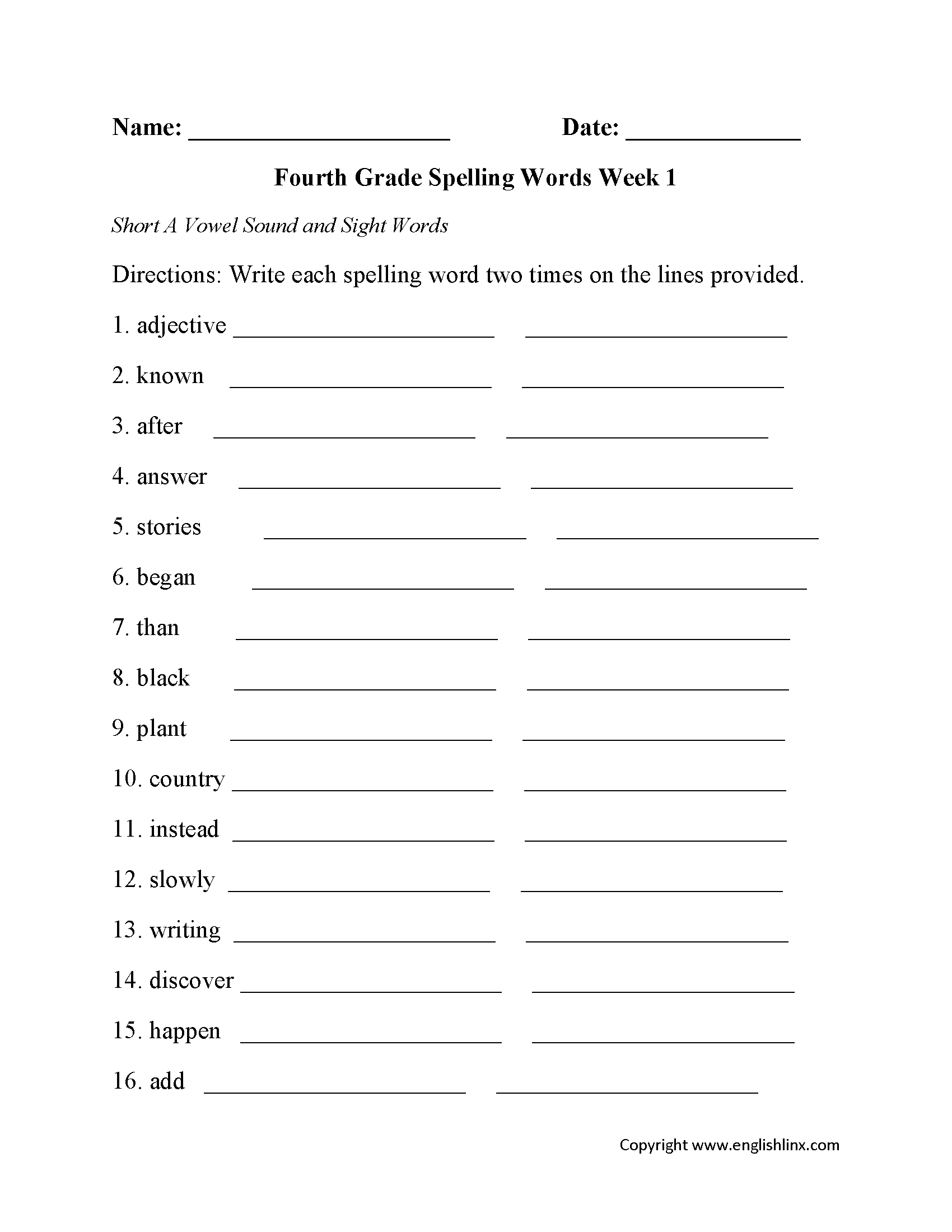 Spelling Worksheets | Fourth Grade Spelling Worksheets | Create Spelling Worksheets Printable