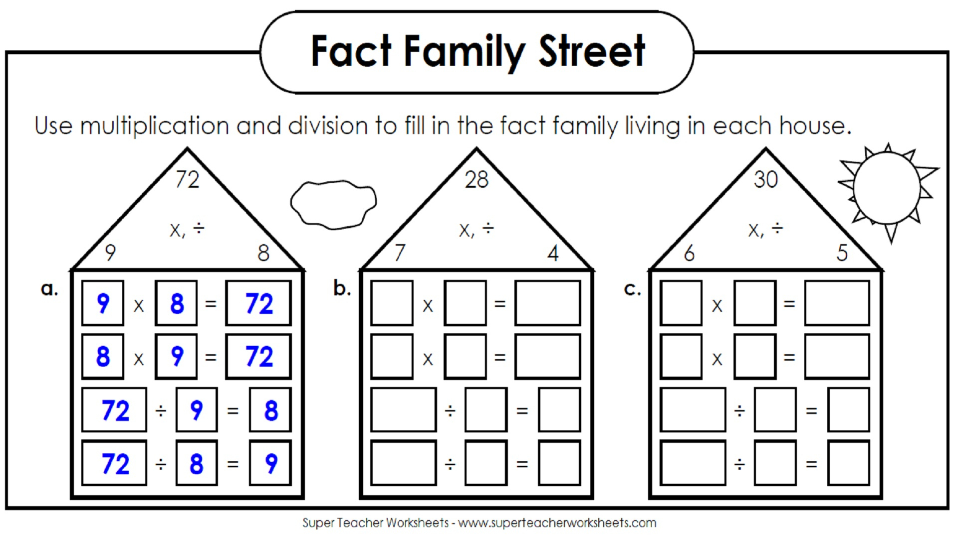 Splashtop Whiteboard Background Graphics | Free Printable Multiplication Division Fact Family Worksheets