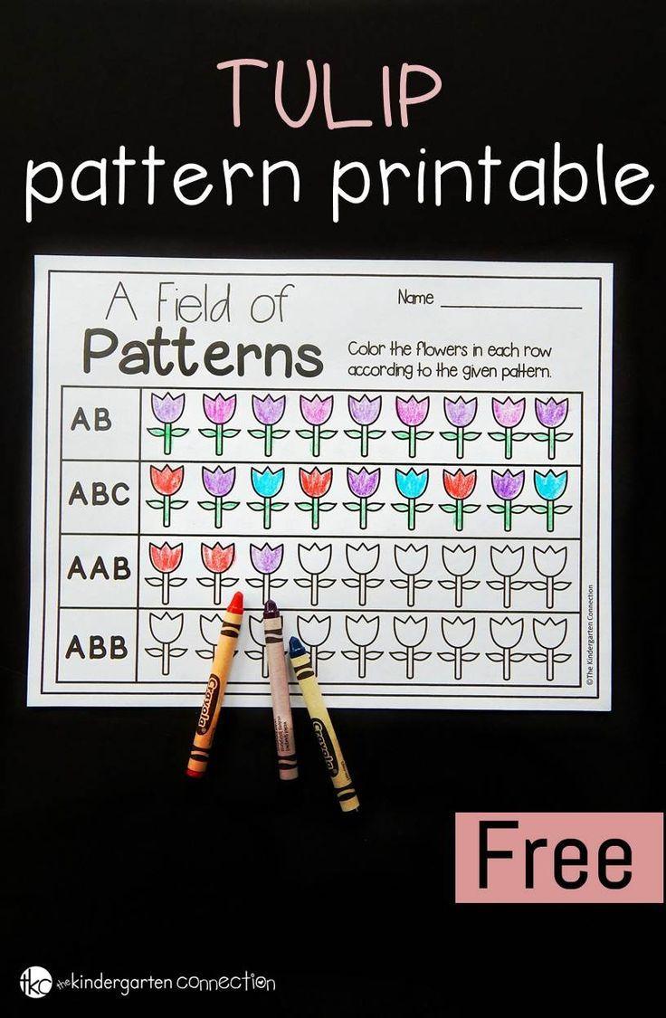 Spring Tulips Math Patterns Printable | Free Printables | Math | Free Printable Ab Pattern Worksheets