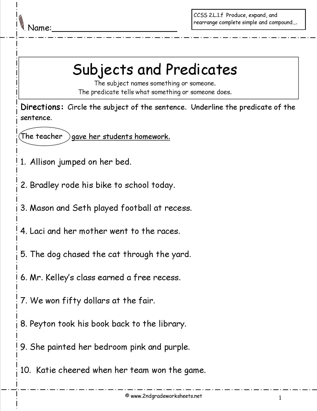 Subject Predicate Worksheets 2Nd Grade - Google Search | Kid Stuff | Free Printable Subject Predicate Worksheets 2Nd Grade