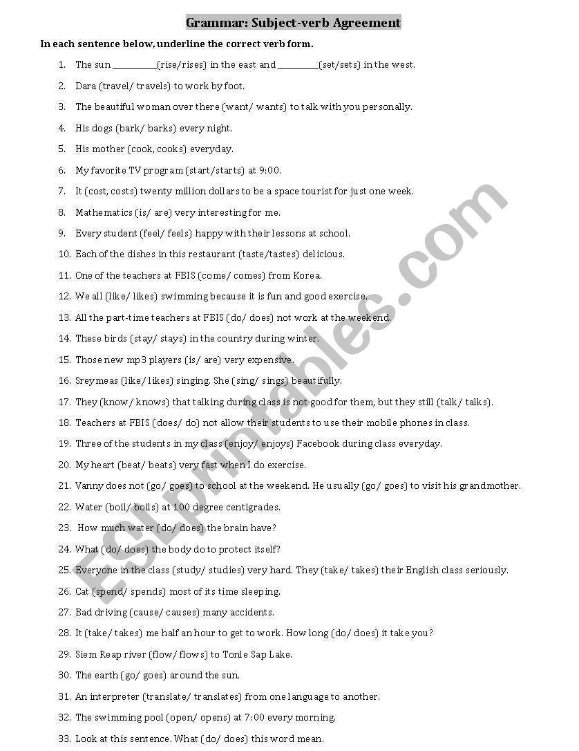 Subject-Verb Agreement - Esl Worksheetsothol   Free Printable Subject Verb Agreement Worksheets