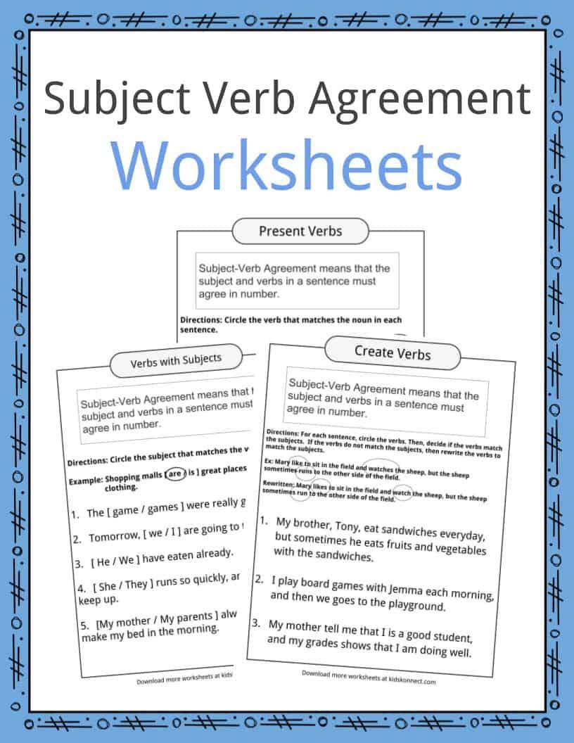 Subject Verb Agreement Worksheets   Kidskonnect   Free Printable Subject Verb Agreement Worksheets