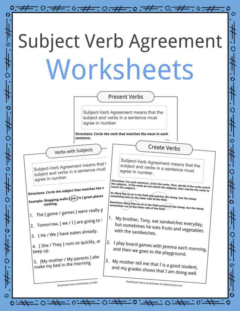 Subject Verb Agreement Worksheets | Kidskonnect | Subject Verb Agreement Printable Worksheets High School