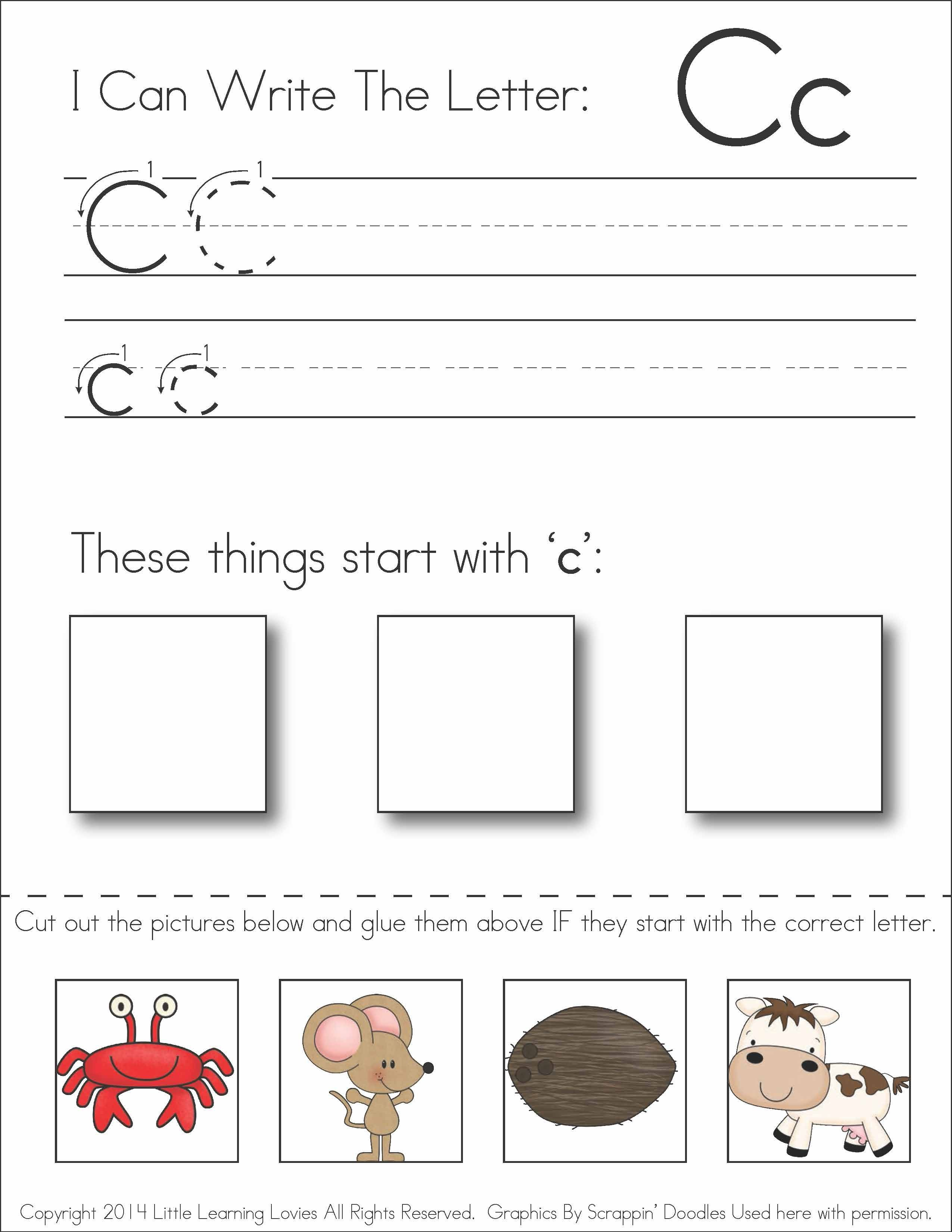 Subscriber Exclusive Freebie} - Letter C: Write, Cut & Paste | Free Printable Kindergarten Worksheets Cut And Paste