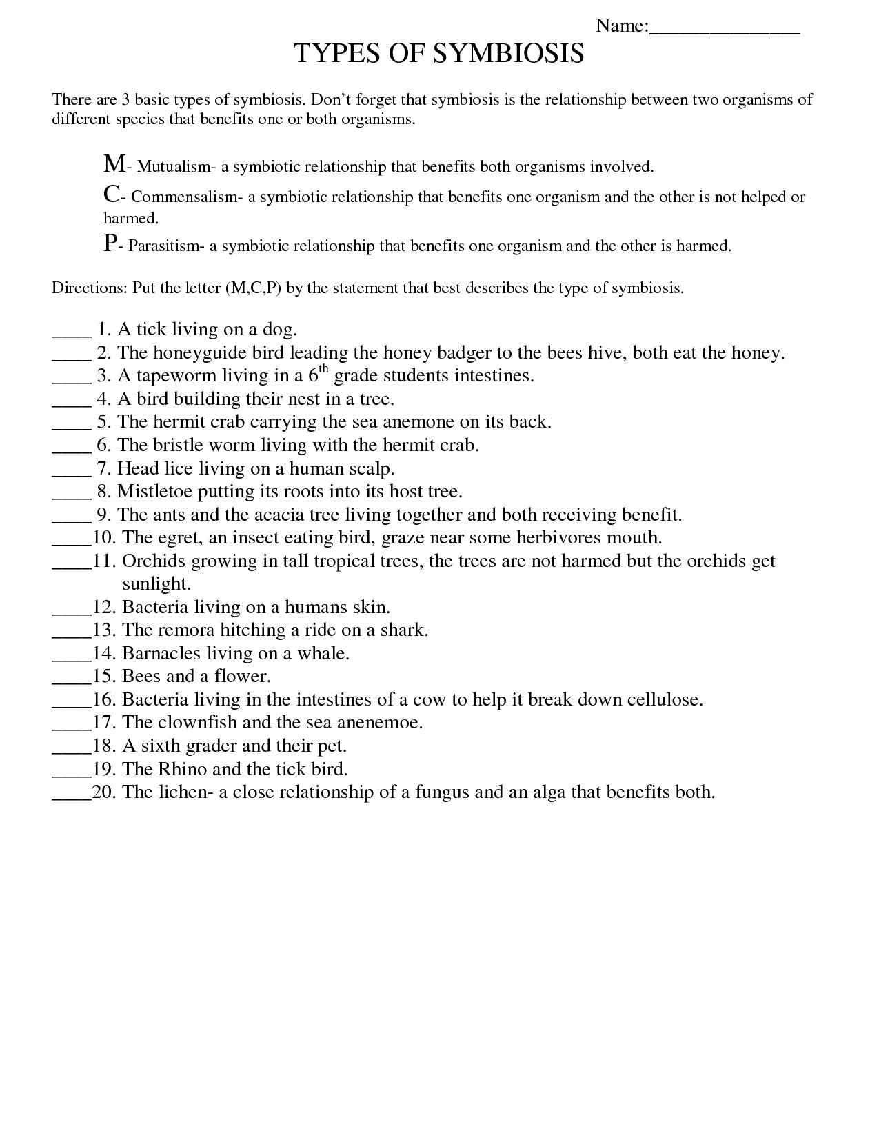 Symbiosis Worksheet: Free Printable Worksheets On High School Bio | Free Printable High School Science Worksheets
