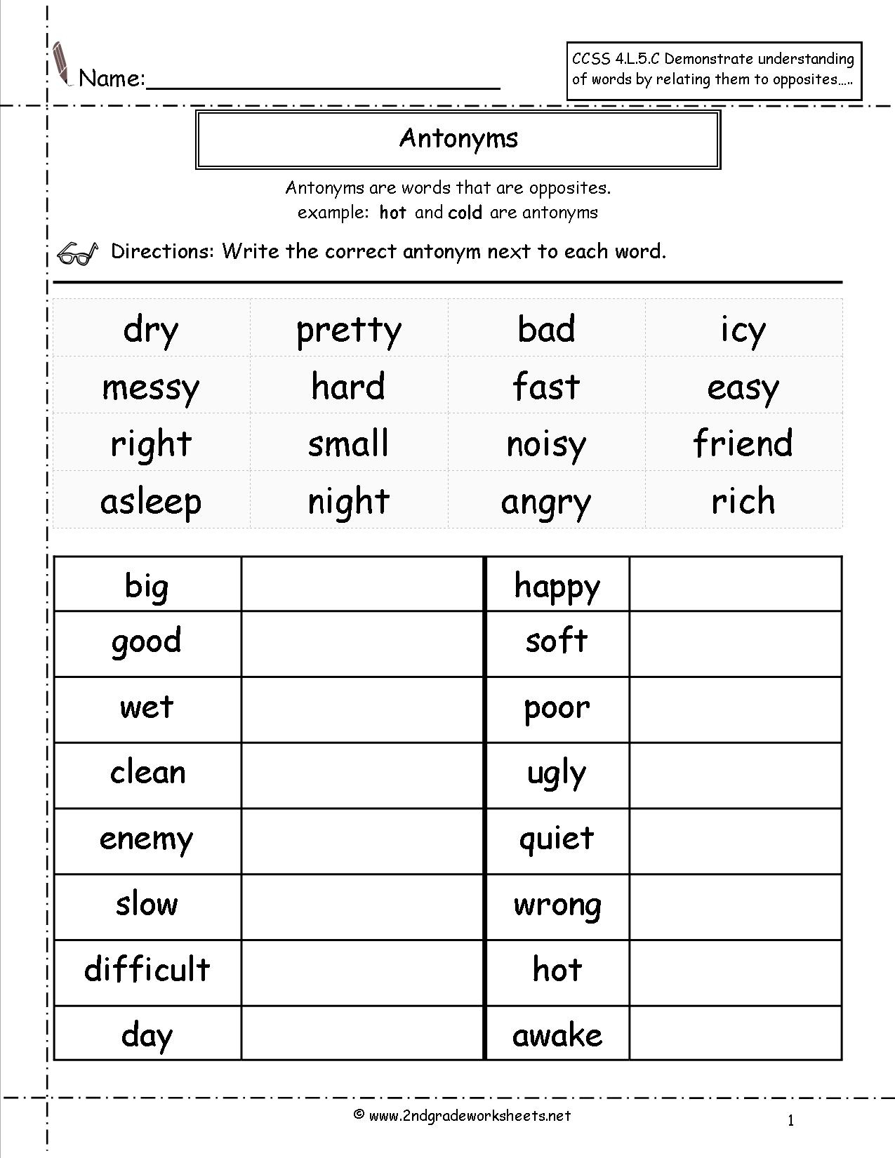 Synonyms And Antonyms Worksheets | Antonyms Printable Worksheets