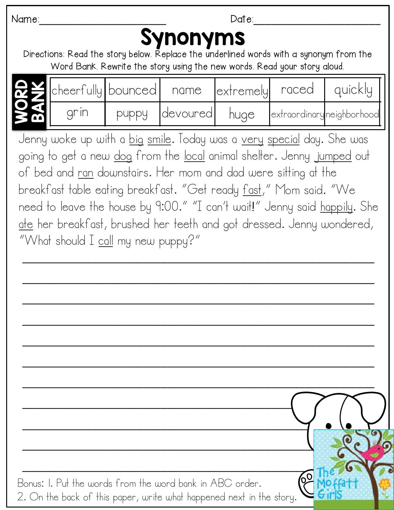 Synonyms- Read The Story And Replace The Underlined Words With | Free Printable Worksheets Synonyms Antonyms And Homonyms