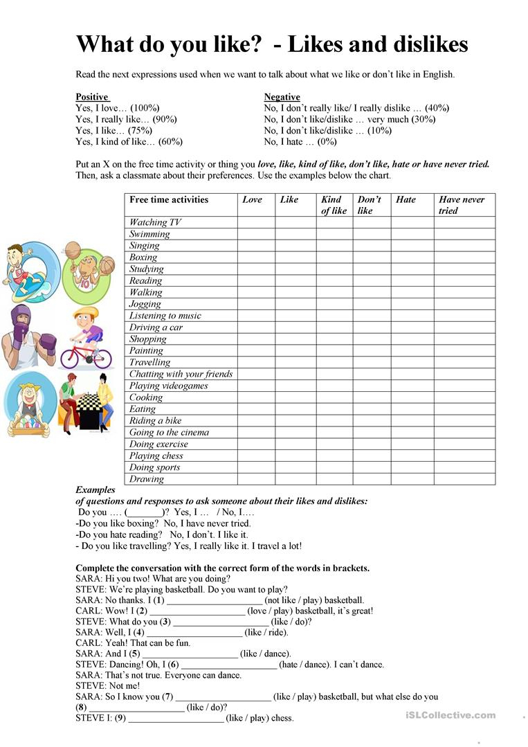 Talking About Likes And Dislikes Worksheet - Free Esl Printable   Likes And Dislikes Printable Worksheets