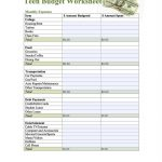 Teen Budget Worksheet | Teens | Budgeting Worksheets, Life Skills | Printable Worksheets For Teens