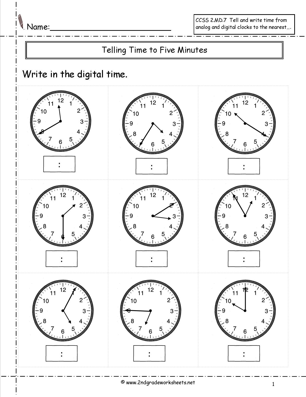 Telling And Writing Time Worksheets | Telling Time Worksheet Printable