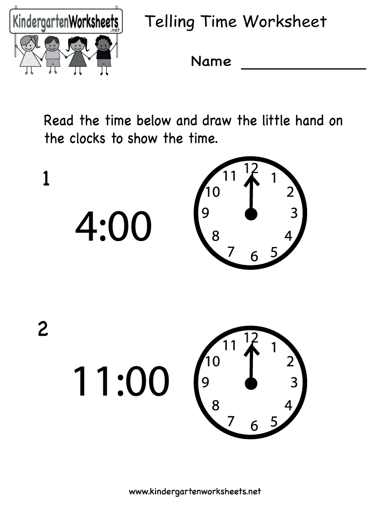 Telling Time Worksheet - Free Kindergarten Math Worksheet For Kids | Free Printable Time Worksheets For Kindergarten