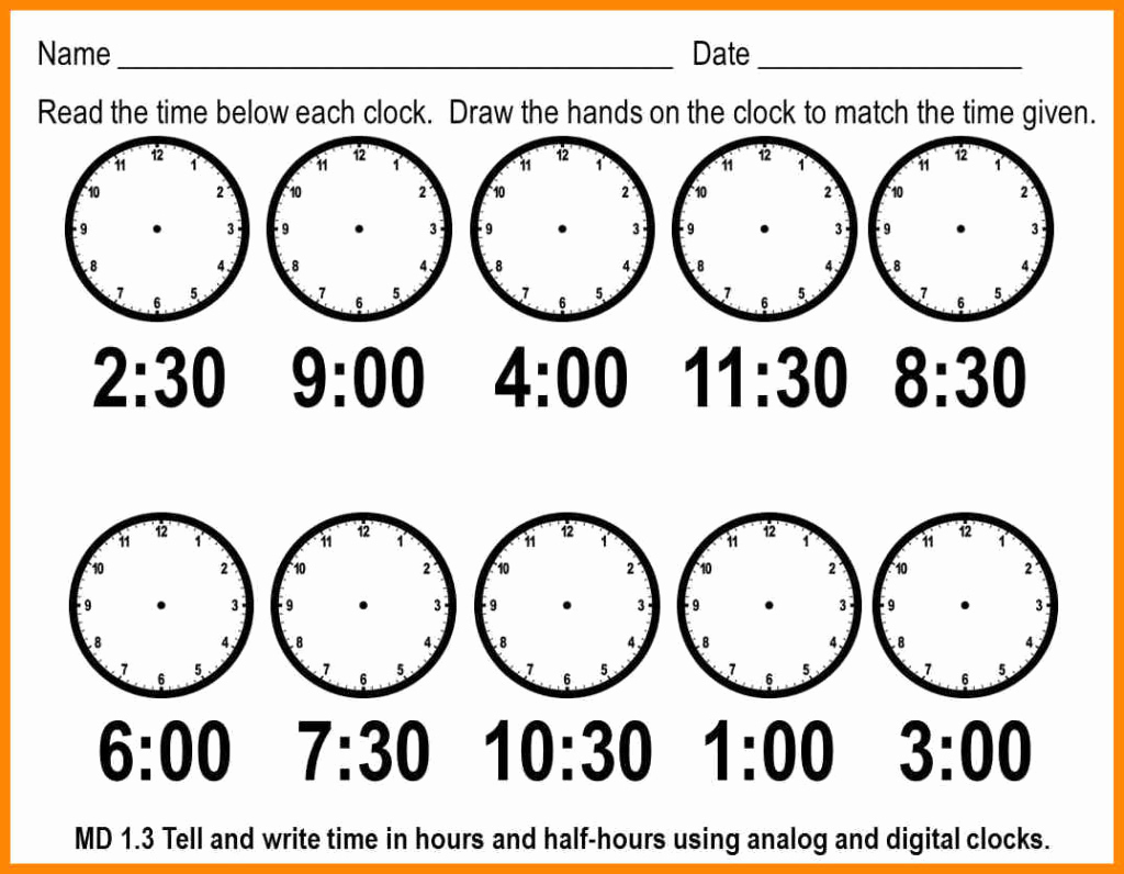 Telling Time Worksheets Printable – Worksheet Template - Free | Telling Time Worksheets Printable