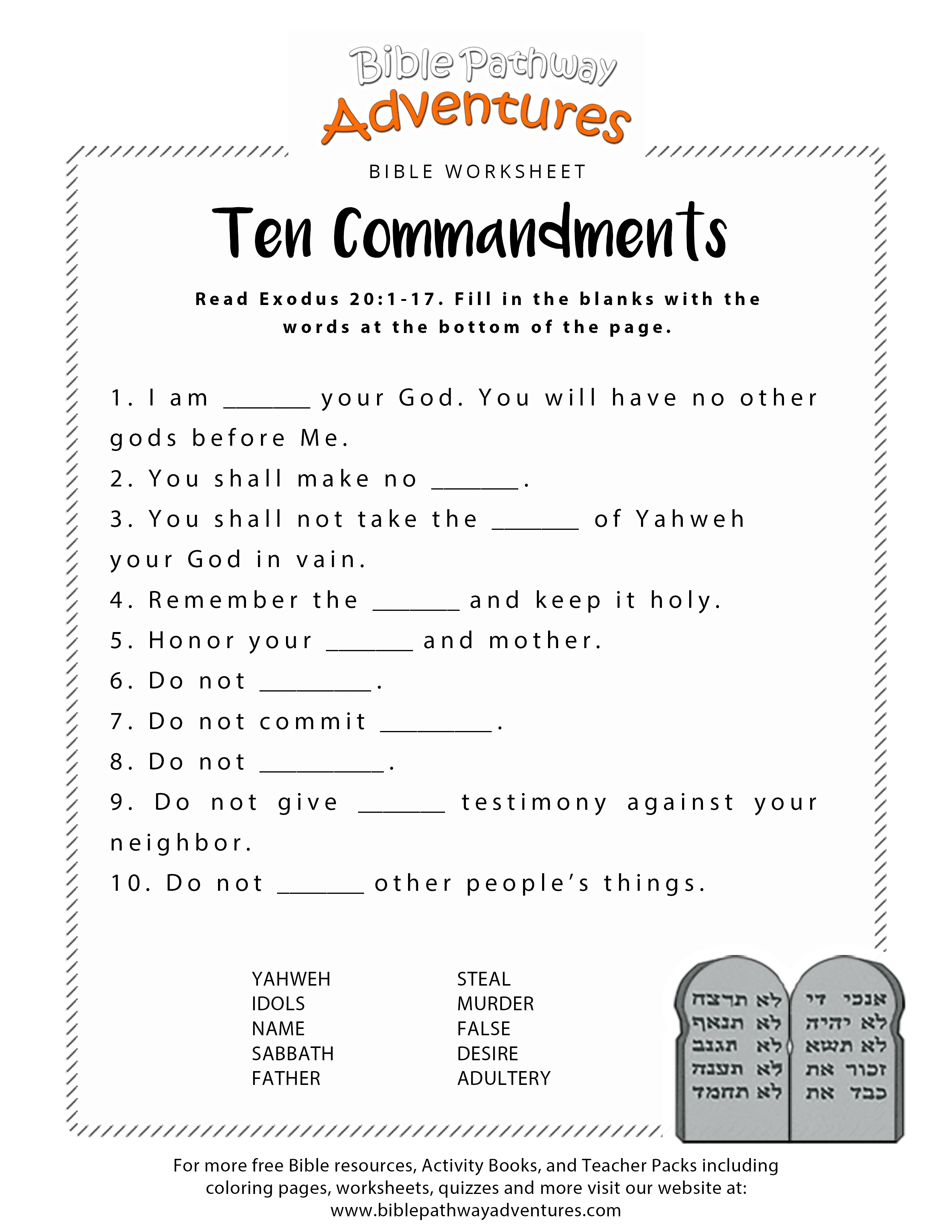 Ten Commandments Worksheet For Kids | Junior Church | Bible Lessons | Free Printable 5 W's Worksheets
